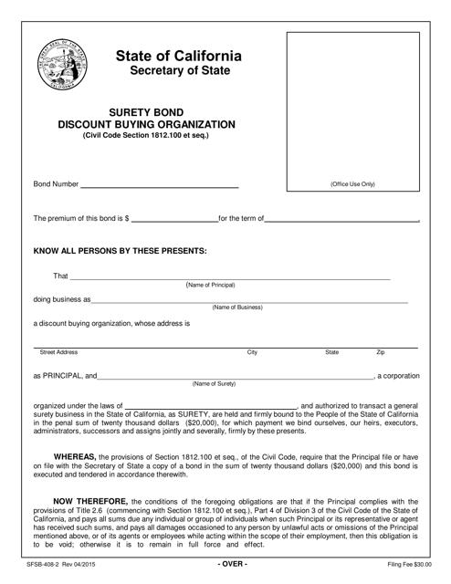 Form SFSB-408-2  Printable Pdf