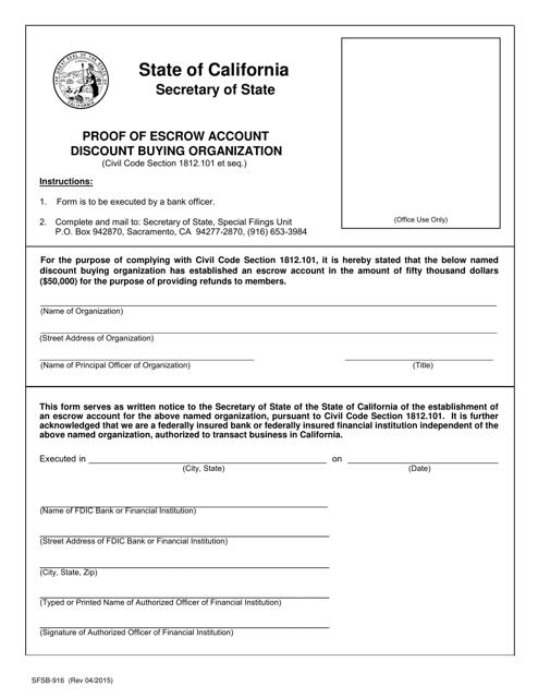 Form SFSB-916  Printable Pdf