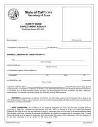 Form SFSB-449 Employment Agency Surety Bond - California
