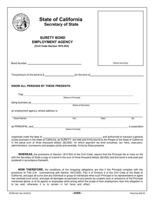 Form SFSB-449  Printable Pdf