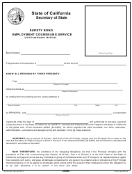 "Form SFSB-450 ""Employment Counseling Service Surety Bond"" - California"