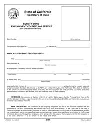 Form SFSB-450 Employment Counseling Service Surety Bond - California