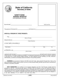 Form SFSB-452 Nurses' Registry Surety Bond - California