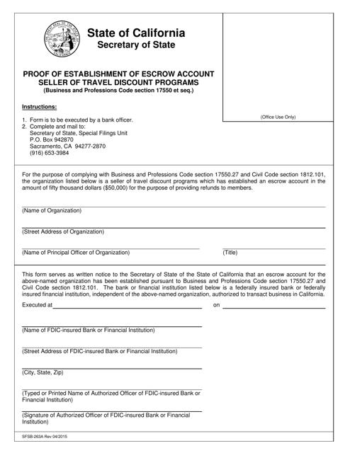 Form SFSB-263A  Printable Pdf