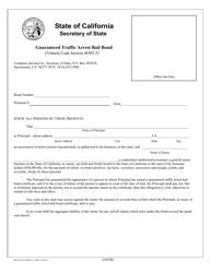 Form NPSF 421 Guaranteed Traffic Arrest Bail Bond - California