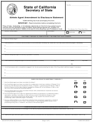 "Form SFAA1 ""Athlete Agent Amendment to Disclosure Statement"" - California"