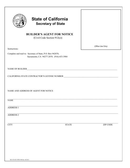 Form NPSF800  Printable Pdf