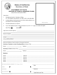 "Form NPSF405 ""Statement of Facts Roster of Public Agencies Filing"" - California"