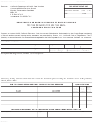 Form PM 210 Registration of Agency Intending to Provide Hearing Testing Services Per Section 49452, California Education Code - California