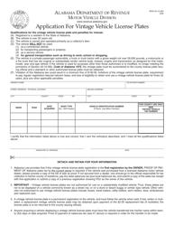 """Form MVR40-12-290 """"Application for Vintage Vehicle License Plates"""" - Alabama"""