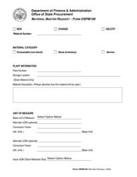 Form OSPM 100 Material Master Request - Arkansas