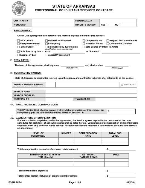 Form PCS-1  Printable Pdf