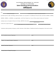 "Form BOF039 ""Safe Handling Demonstration Affidavit"" - California"
