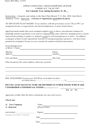"""Form 1023 """"Application for a Feed Exemption License Under Act 726 of 1997"""" - Arkansas"""