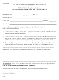 """Form 1086 """"Pre-application for Agricultural Consultants"""" - Arkansas"""