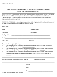"""Form 1087 """"Application for an Agricultural Consultants License"""" - Arkansas"""