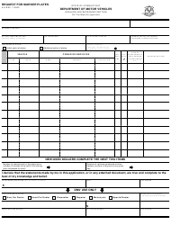 Form K-6 Request for Marker Plates - Connecticut