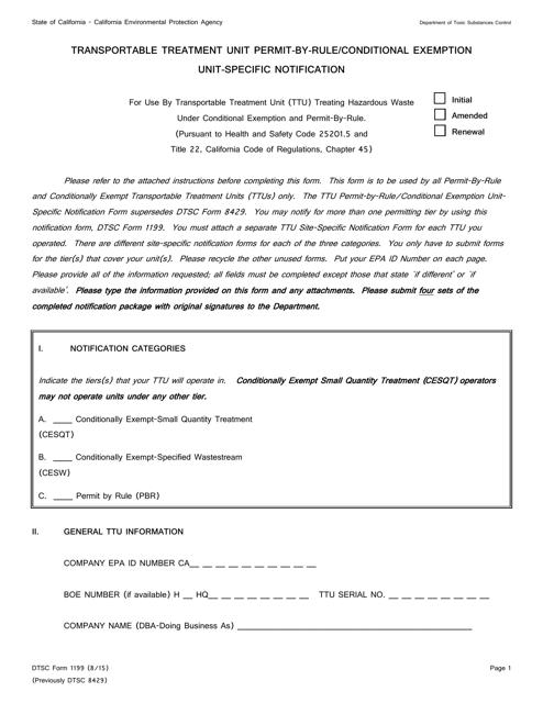 DTSC Form 1199  Printable Pdf
