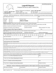 Form GEN 012 STATE Logonid Request - Employer Services for State of Alaska Only - Alaska