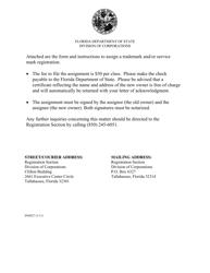 Form INHS 27 Assignment of Mark Registration - Florida