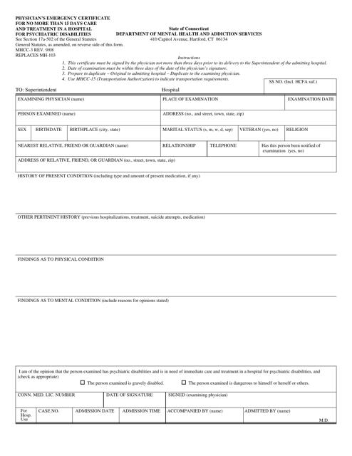 Form MHCC-3  Printable Pdf