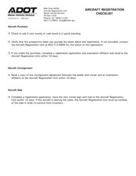 "Form 96-0600 ""Aircraft Registration Checklist"" - Arizona"