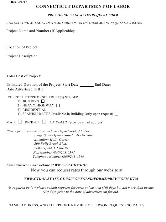 """Prevailing Wage Rates Request Form"" - Connecticut Download Pdf"