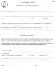 Form PT-PA-1 Physician's Affidavit of Permanent and Total Disability - Alabama