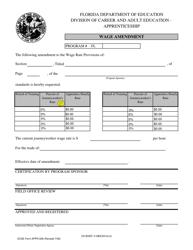 "Form APPR-208 ""Wage Amendment by Percentages"" - Florida"