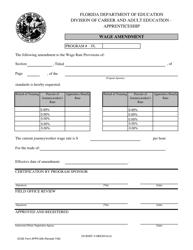 """Form APPR-208 """"Wage Amendment by Dollars"""" - Florida"""