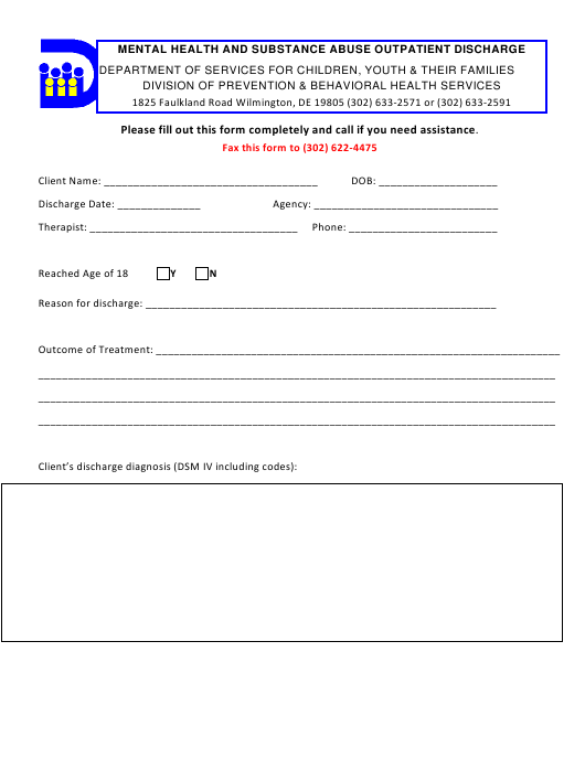 """""""Mental Health and Substance Abuse Outpatient Discharge Form"""" - Delaware Download Pdf"""