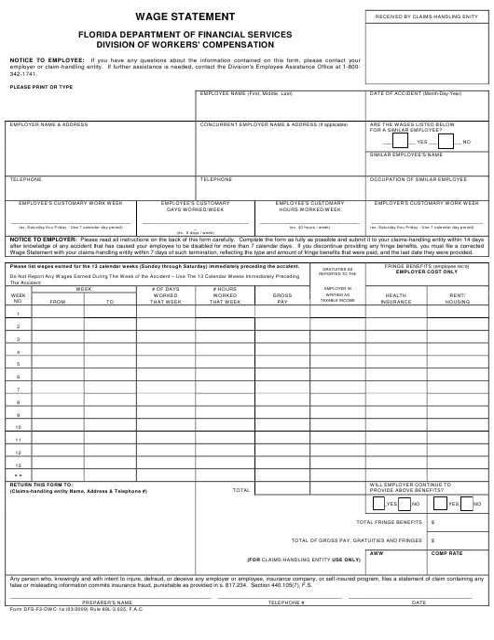 Form DFS-F2-DWC-1A  Printable Pdf