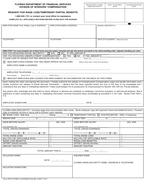 Form DFS-F2-DWC-3  Printable Pdf