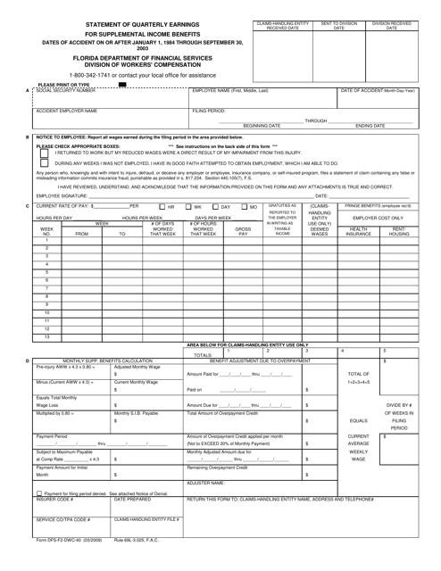 Form DFS-F2-DWC-40  Printable Pdf