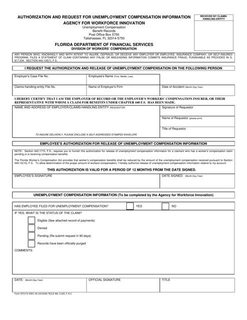 Form DFS-F2-DWC-30  Printable Pdf