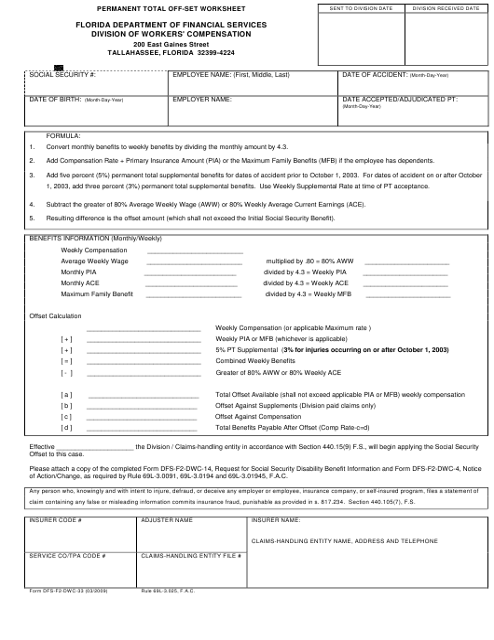Form DFS-F2-DWC-33  Printable Pdf