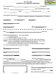 Form P 2-19-4-403 Affidavit of Forged Warrant - Arkansas