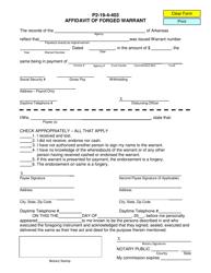 Form P 2-19-4-403 Affidavit of Forged Warrant - Arkansas