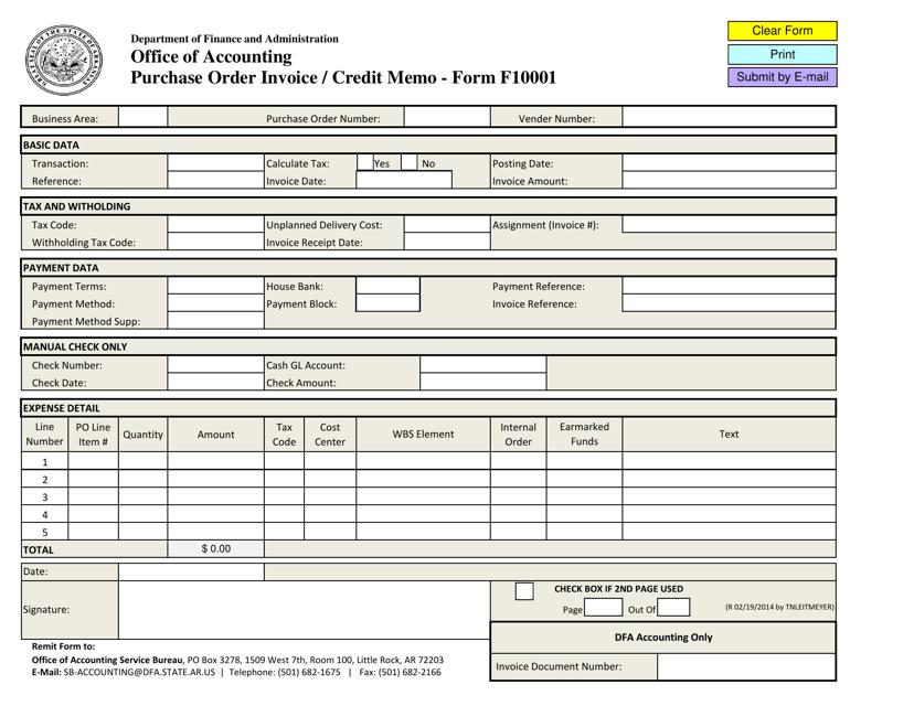 Form F10001  Printable Pdf