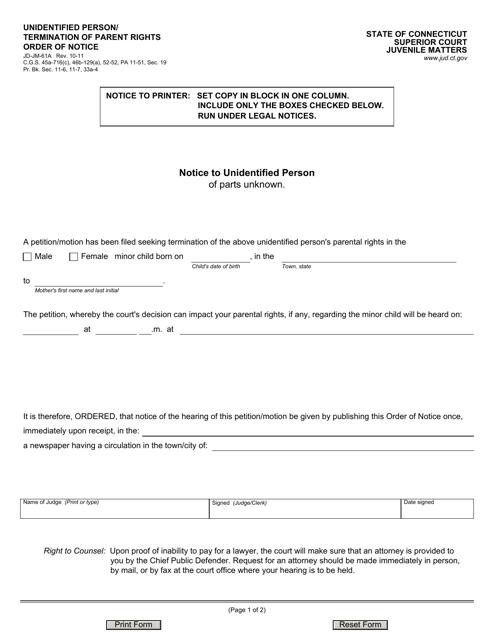 Form JD-JM-61A  Printable Pdf