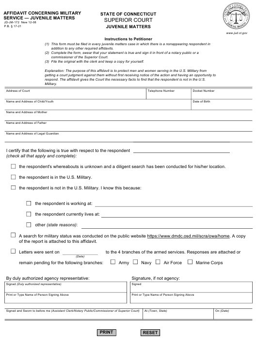 Form JD-FM-172  Printable Pdf