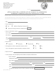 "Form A4-50 ""Application for a Certificate of Consent to Administer Workers' Compensation Self Insurance Claims"" - California"