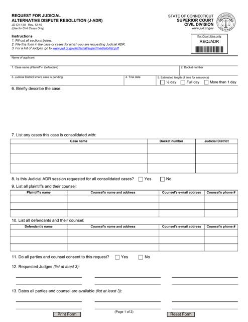 Form JD-CV-130  Printable Pdf