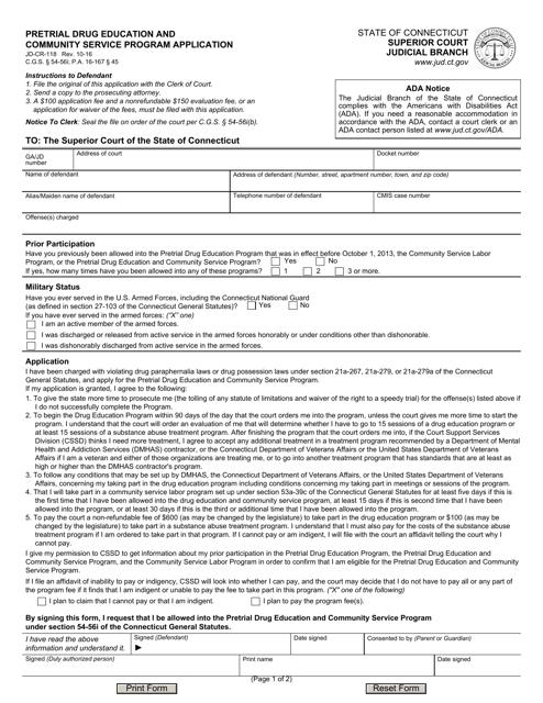 Form JD-CR-118  Printable Pdf