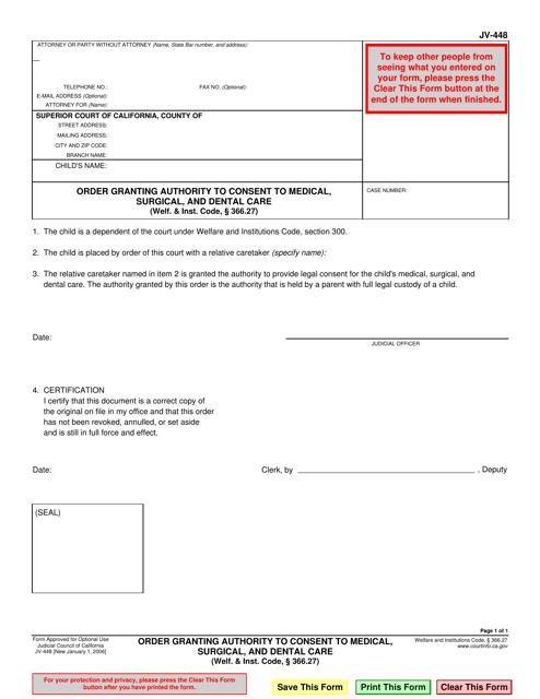Form JV-448  Printable Pdf