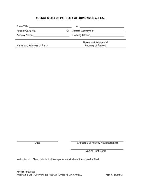 Form AP-311 Fillable Pdf