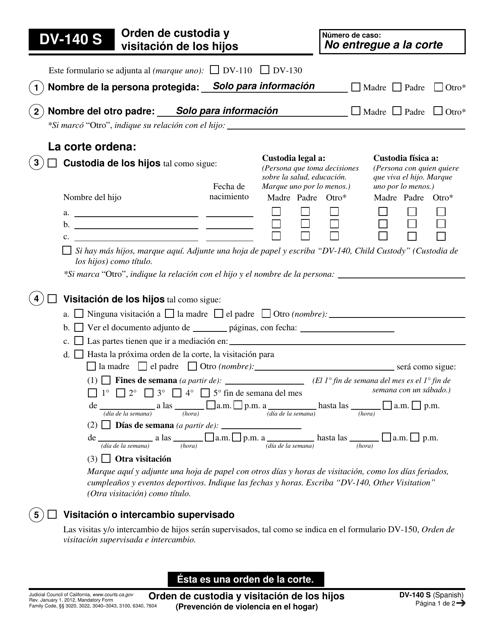 Formulario DV-140 S  Printable Pdf