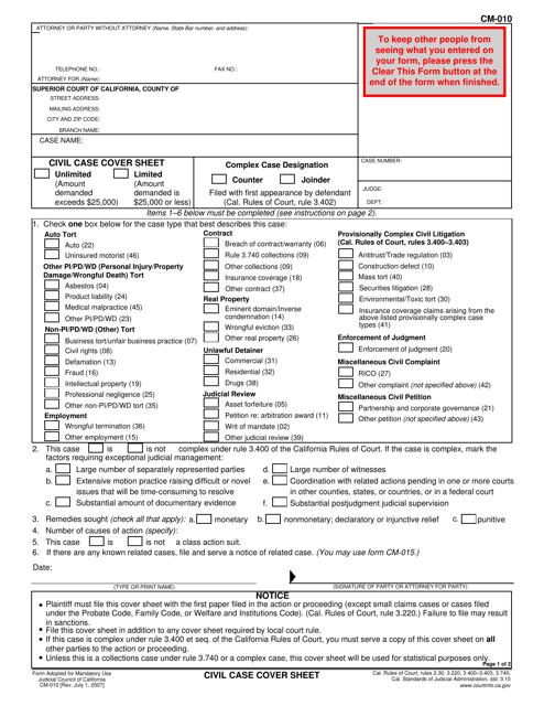 Form CM-010 Printable Pdf