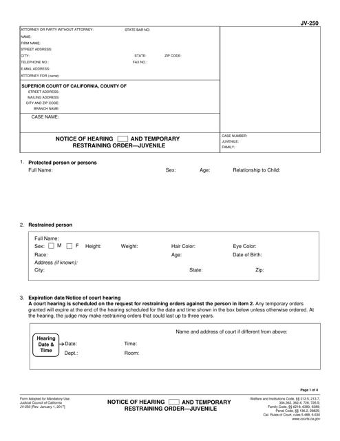 Form JV-250  Printable Pdf