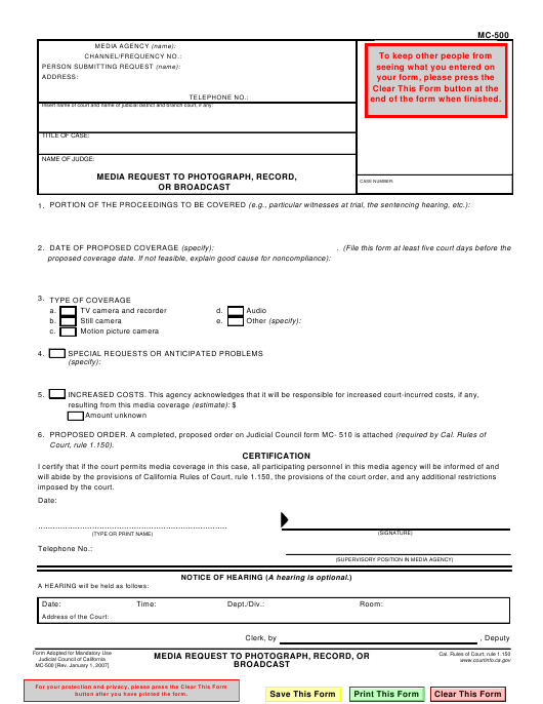 Form MC-500  Printable Pdf